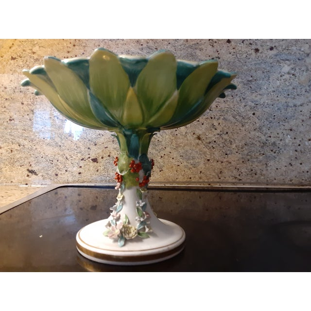 Vintage Italian Mottahedeh Green and Blue Epergne For Sale In Miami - Image 6 of 8