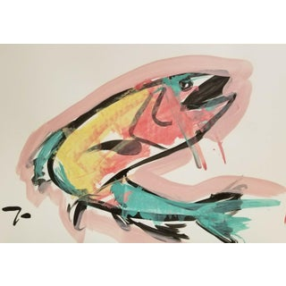 Jose Trujillo Primitive Expressionism Fish Modernism Acrylic Painting For Sale