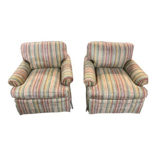 Custom Upholstered, Colorful Striped Ultra Suede Club Chairs - a Pair