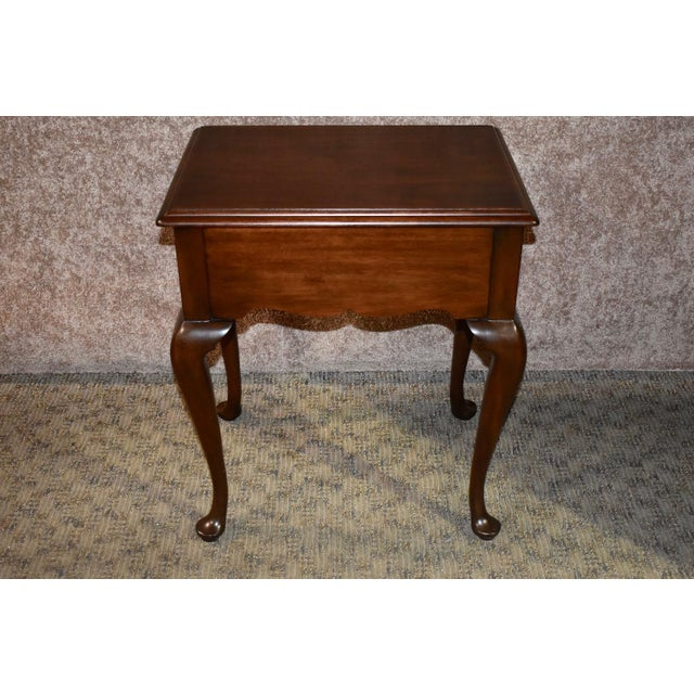 1970s Queen Anne Henkel-Harris Solid Cherry Side Table W/Drawer For Sale - Image 9 of 12