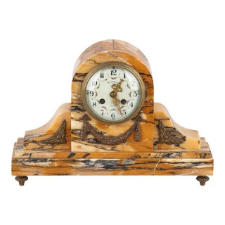 French Louis XVI Style Marble Mantel Clock, Early 1900s For Sale