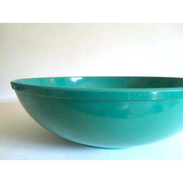Vintage Mid Century Modern Melmac Melamine Extra Large Teal Green Round Serving Bowl For Sale - Image 10 of 13