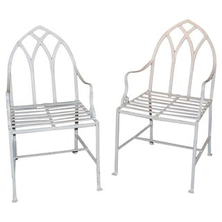 Pair of Gothic Iron Indoor/Outdoor Chairs
