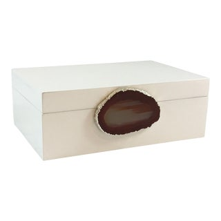 Curated Kravet Emiliano Large Agate Box, White/Natural For Sale