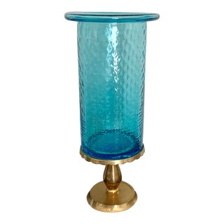Turquoise Blue Glass and Brass Vase / Candle Holder For Sale