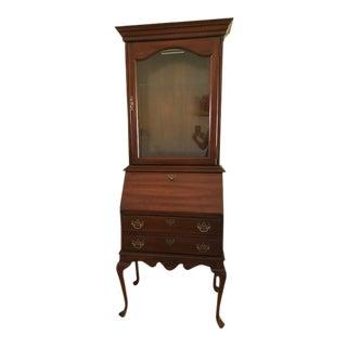 Vintage American Drew Cherry Grove Queen Anne Lighted Secretary Desk For Sale