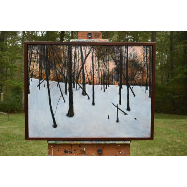 """Stephen Remick """"Sunrise in the Snowy Woods"""" Painting For Sale - Image 12 of 13"""