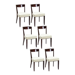 Jules Leleu Exceptional Set of Six Dinning Chairs For Sale