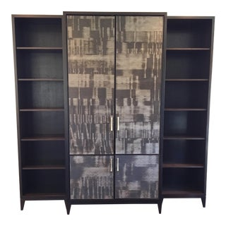 Custom Hidden Desk & Side Bookcases Office Cabinet