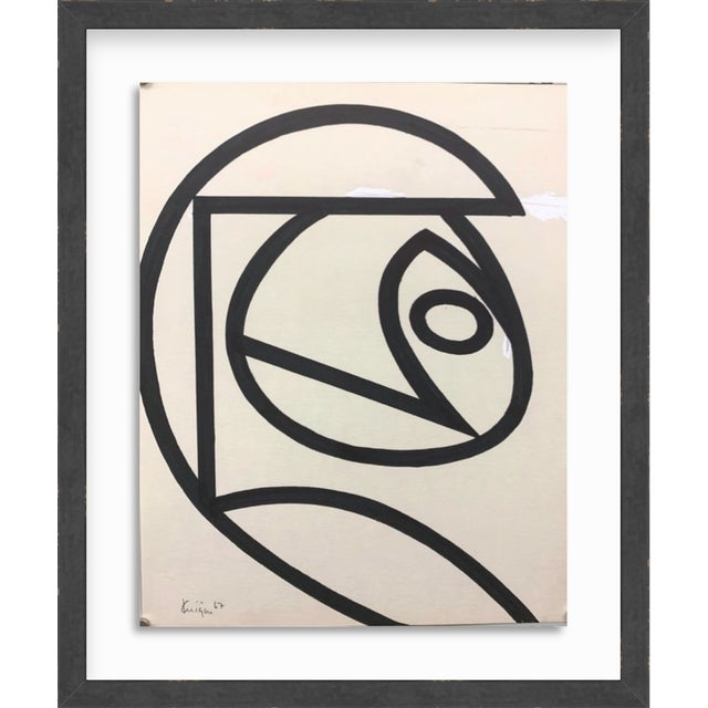 Original Mid Century Ink Brush Abstract 18 Michael Knigin Early Work For Sale - Image 4 of 4