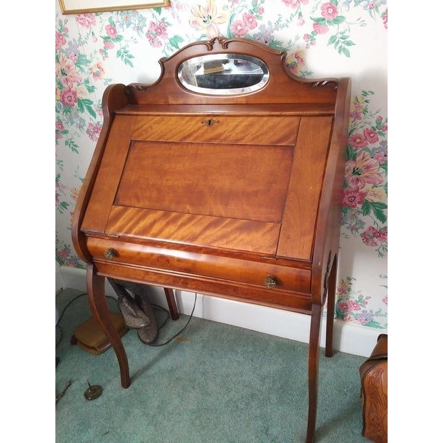 English Traditional Cherry Petite Antique Writing Desk For Sale - Image 3 of 10
