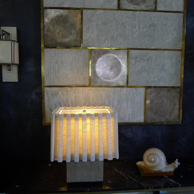 Not Yet Made - Made To Order Paul Marra Modern Distressed Oak Table Lamp For Sale - Image 5 of 8