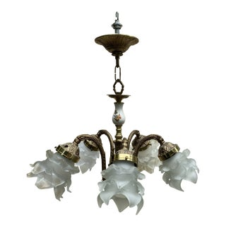 Vintage Five Light Brass Hanging Fixture With Frosted Blown Glass Shades For Sale