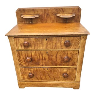 Victorian Cottage Pine Chest With Original Grain Painted Decoration For Sale