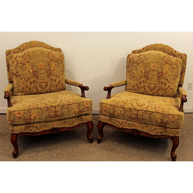 Ethan Allen French Country Lounge Chairs - A Pair - Image 2 of 11