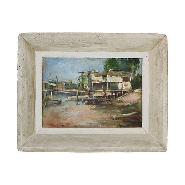 An Impressionist oil painting on canvas of a Florida coastal scene by Eugene B. White, (1913-1966). Signed lower left....