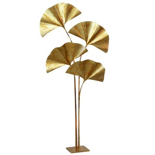 Huge Four Ginkgo Leaf Brass Floor Lamp by Tommaso Barbi For Sale