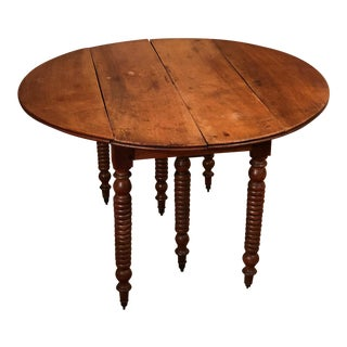 Antique Spool Leg Drop Leaf Table