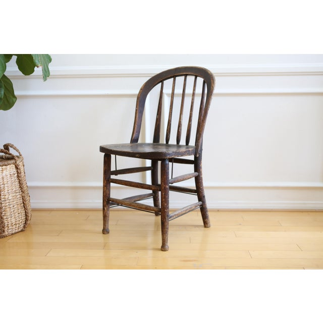 Antique American Primitive Accent Wood Chair - Image 2 of 9