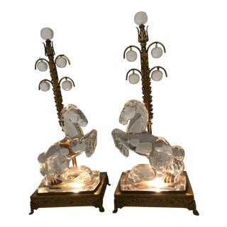 Early 20th Century Crystal Stallion Girondale Table Lamps - a Pair For Sale