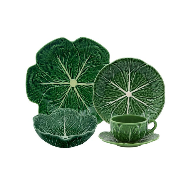 Bordallo Pinheiro Cabbage Complete Dinnerware Set, Green - Service for One For Sale - Image 9 of 9