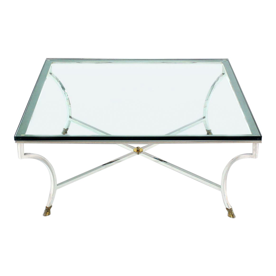 Mid Century Modern Glass Top Square Coffee Table With Chrome And
