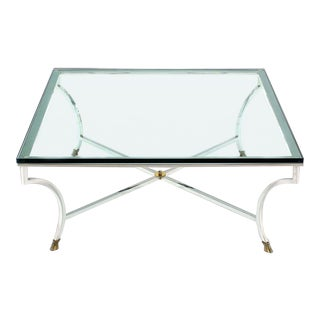 Mid-Century Modern Glass Top Square Coffee Table With Chrome and Brass Hoof-Feet Base For Sale