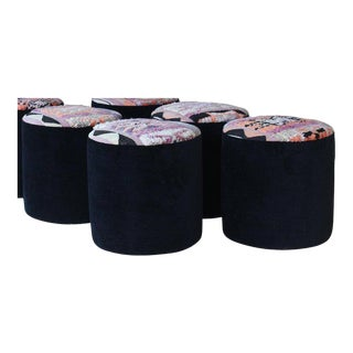 Stools Upholstered in Vintage Moroccan Rug (4 Available) For Sale