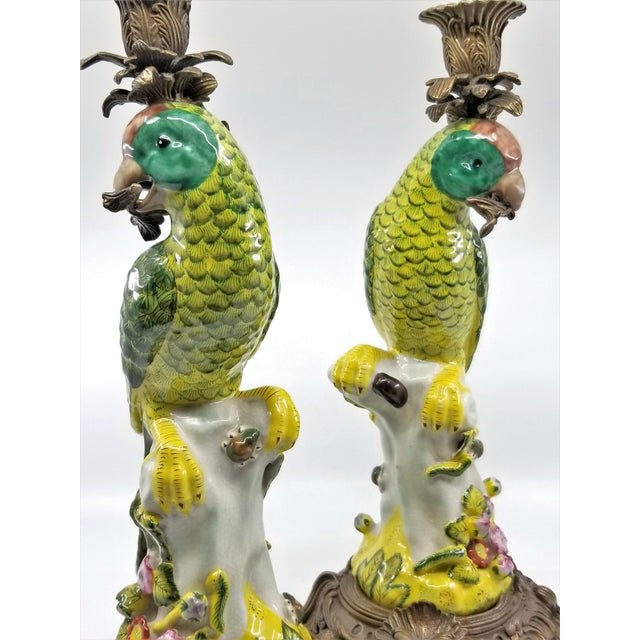Large Parrot Candlesticks Candle Holders a - Pair - Vintage Porcelain Chinese Ceramic Birds - Tropical Coastal Mid Century Modern Boho Chic Palm Beach For Sale In Miami - Image 6 of 13