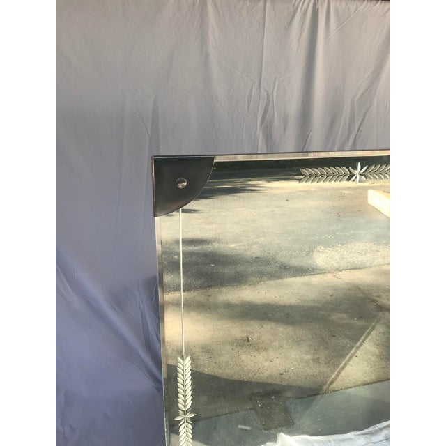 Mid-Century Large Etched Glass Wall Mirror For Sale - Image 4 of 6