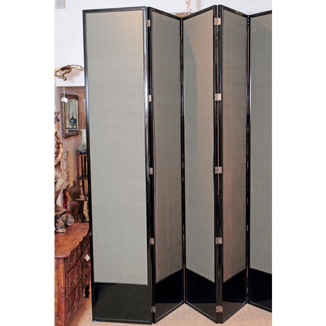 Large Neo Classical Six-Panel Black Lacquer and Fabric Screen/Room Divider - Image 9 of 11