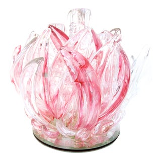 Massive Murano Pink & Clear Art Glass Floraform Candelabra Centerpiece For Sale