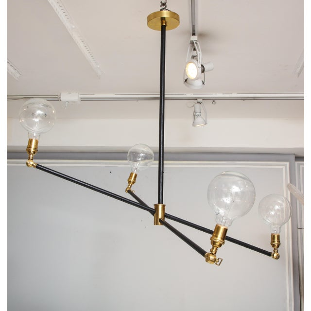 Sculptural Custom Leather and Brass Four-Arm Fixture With Articulating Arms For Sale In New York - Image 6 of 13