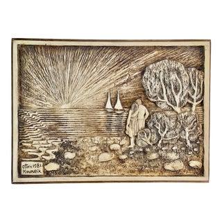 Oton Kovarik Woodcarving Sculpture Painting on Pine Wood - Legendary Czech Artist 1928-2010 For Sale