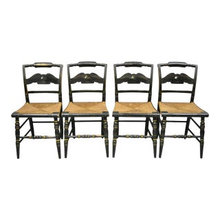 American Colonial L Hitchcock Black Stenciled Rush Seat Dining Chairs - Set of 4 For Sale