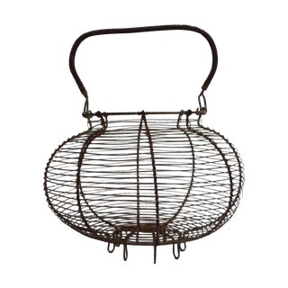 Vintage French Wire Salad Basket For Sale
