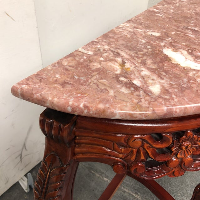 Marble Top Demilune Console - Image 4 of 8