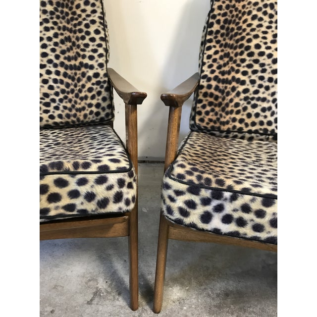 Vintage Danish Modern High Back Armchairs - A Pair - Image 7 of 11
