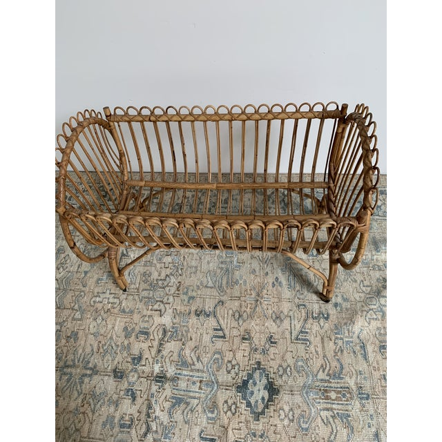This is a stunning mid century modern boho chic rattan bassinet / crib. This gorgeous bamboo bassinet was pulled from an...