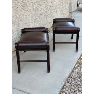 Hickory Chair Co Leather Benches/Footstools - a Pair Preview