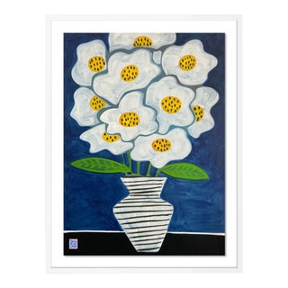 Fluffy Flowers by Jelly Chen in White Framed Paper, Medium Art Print For Sale