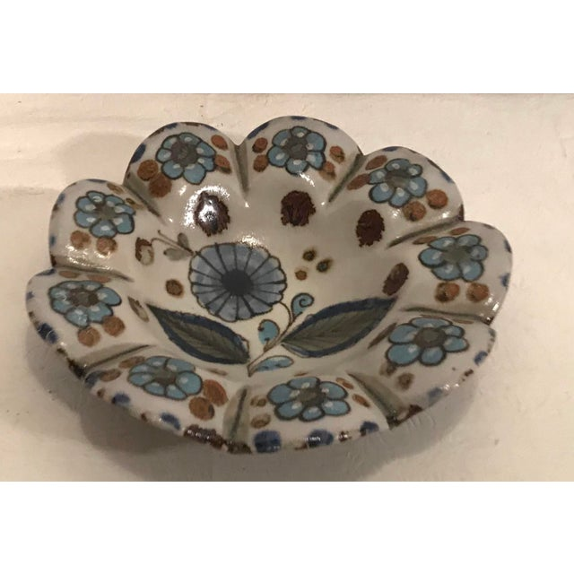Mexican Vintage Mexican Pottery Hand Painted Ashtray For Sale - Image 3 of 6