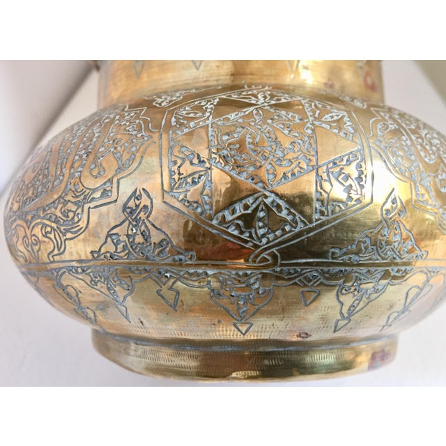 Islamic Middle Eastern Islamic Hand-Etched Brass Vase With Calligraphy Writing For Sale - Image 3 of 12