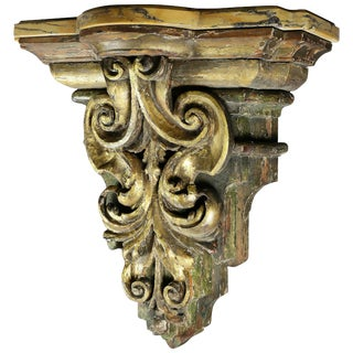 Italian Baroque Giltwood and Marble Wall Bracket For Sale