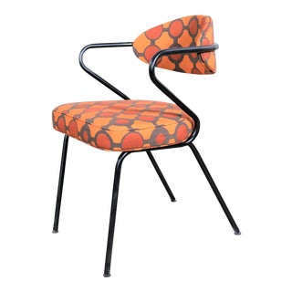 Mid Century Modern Black Bent Steel Tube Armchair With New Orange Upholstery For Sale