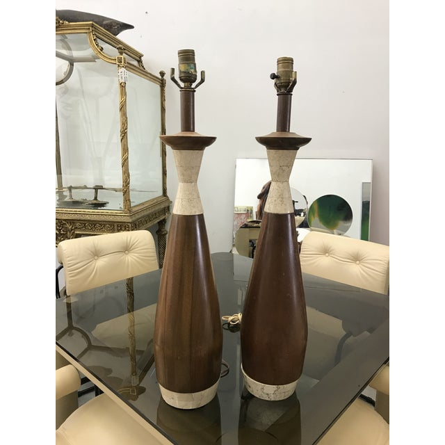 Wood 1970s Wood and Travertine Lamps - a Pair For Sale - Image 7 of 8