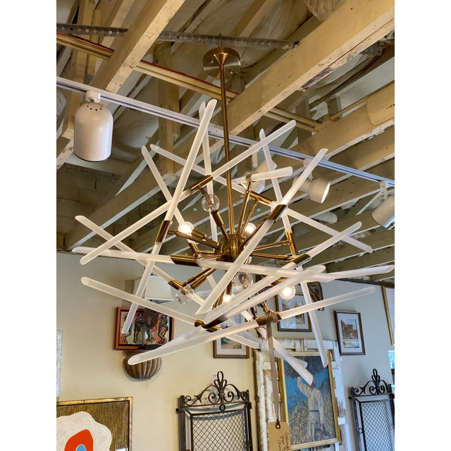 Contemporary Frosted Glass Rods and Brass Sputnik Center Chandelier For Sale In Dallas - Image 6 of 6