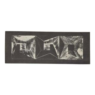 1972 Michiko Itatani Black & White Geometric Etching For Sale