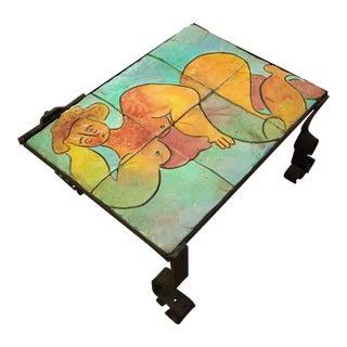 Vintage Custom Figural Mosaic Ceramic Tile Top Side Coffee Table For Sale