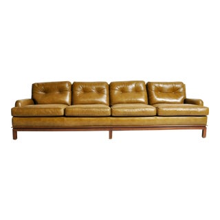 Mid-Century Modern Green Leather Sofa With Hardwood Base by Edward Wormley For Sale